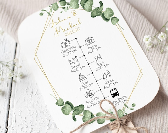 Gold Frame Greenery Fan Program Timeline, Wedding Order of Events, Ceremony Program 100% Editable, Templett PPW0445