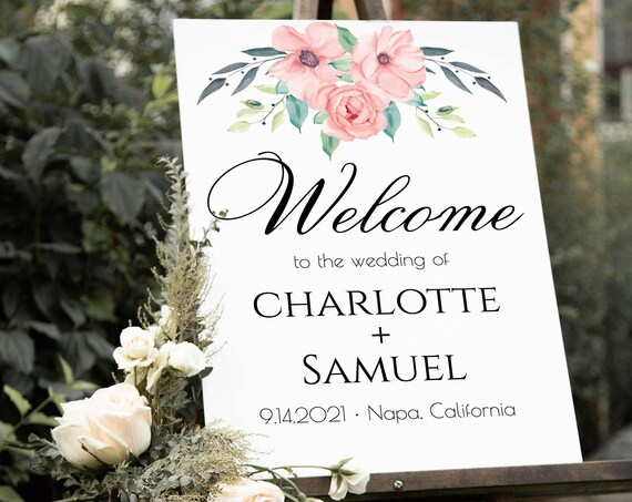 Floral Welcome Wedding Sign Template, Bridal Shower Welcome, 100% Editable Text, Instant Download, Templett, DIY PPW0220