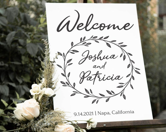 Rustic Wedding Welcome Sign Template, Wreath Sign, 100% Editable Text, Wedding Instant Download, Templett, DIY PPW0330