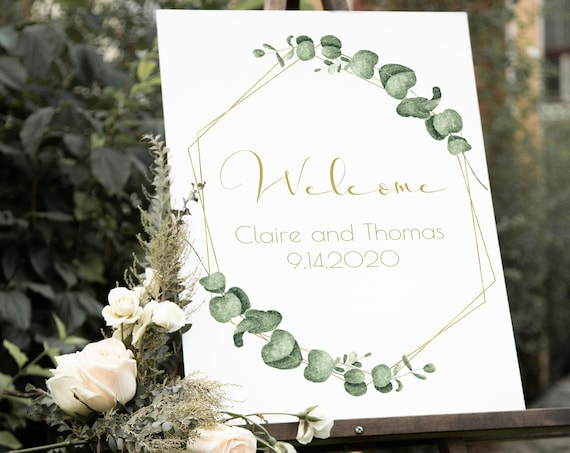 Gold Geometric Greenery Welcome Sign, Wedding Printable Template, 100% Editable, Templett PPW0445