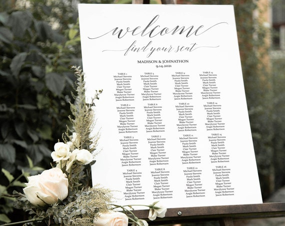 Silver Wedding Seating Chart, Seating Chart Printable, Seating Chart Template, Gray Seating Board, Wedding Sign, PDF Instant Download 120S