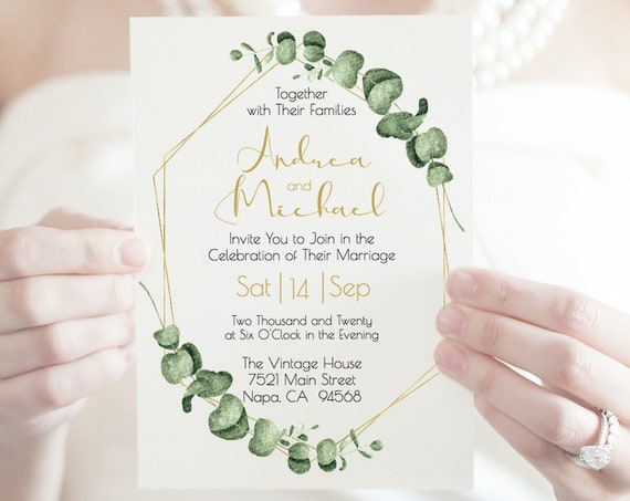 Gold Greenery Wedding Invitation, Editable Invite Template, Printable Invitation, 100% Editable, Templett PPW0445