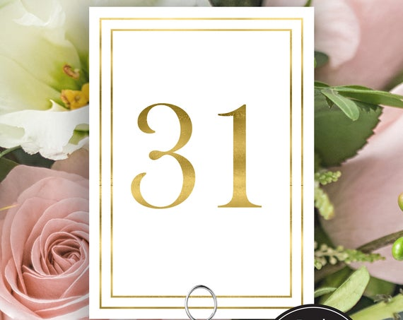 Table Numbers, Modern Gold Wedding Table Numbers Printable, Classic Wedding, Border Table Number Cards, Instant Download PDF