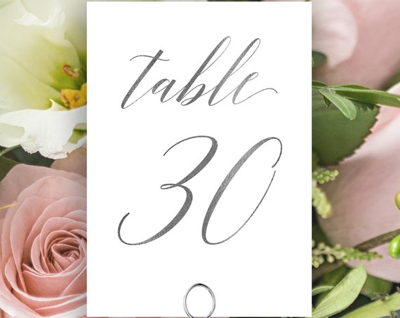 Table Numbers, Silver Wedding Table Numbers Printable, Classic Wedding, Table Number Cards, Instant Download PDF, 120S