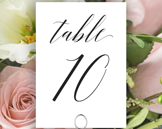 Table Numbers, Wedding Table Numbers Printable, Classic Wedding, Table Number Cards, Instant Download PDF, 120B