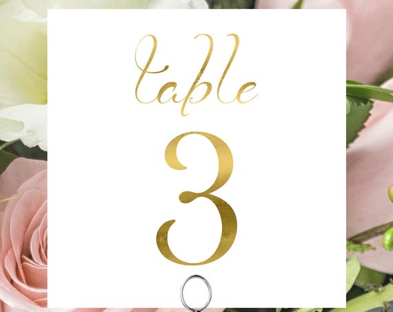 Gold Table Numbers, Wedding Square Table Numbers Printable, Tented and Flat, Table Number Cards, Instant Download PDF, 110G