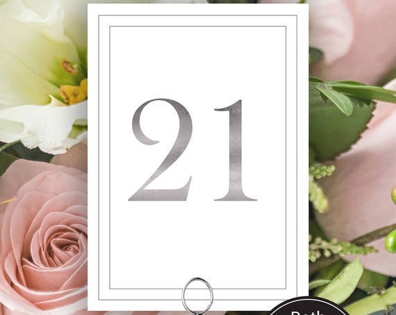 Table Numbers, Silver Wedding Table Numbers Printable, Classic Border Cards, Modern Table Number Cards, Instant Download PDF