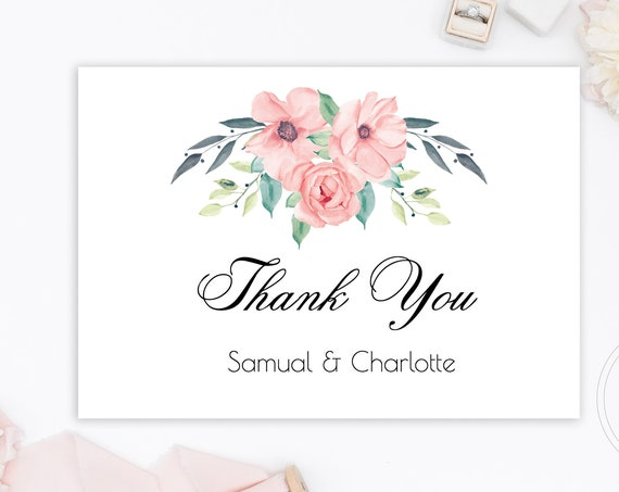 Floral Wedding Thank You Card, Bridal Shower, Printable Custom Note Card, 100% Editable Text, Instant Download, Templett, DIY PPW0220