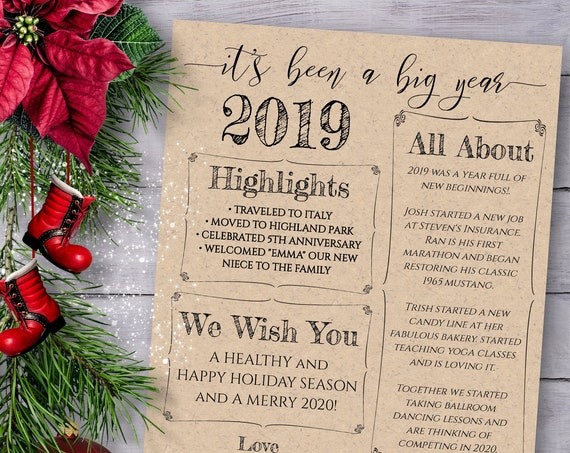 Christmas Letter Template, Christmas Card Year in Review, Christmas Newsletter, Family Update , 100% Editable, Templett PPC-19