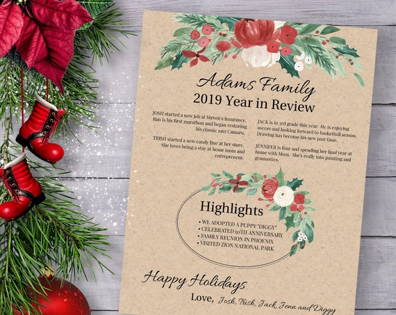 Christmas Letter Template, Year in Review, Christmas Newsletter, Red Floral Greenery Design, Instant Download 100% Editable, Templett PPC-19