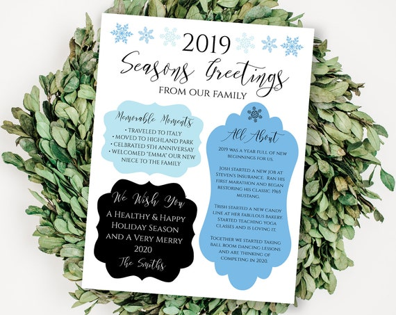 Christmas Letter Template, Year in Review, Blue Snowflake Holiday Newsletter, Family Update 100% Editable, Templett PPC-19