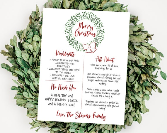 Christmas Letter Template, Christmas Card Year in Review, Christmas Newsletter, Family Update, Wreath 100% Editable NOEL-N1  PPC-19
