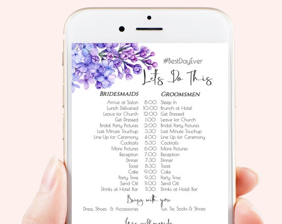 Lilac Wedding Party Timeline, Violet Electronic Itinerary, Evite, Digital, Text Message, Phone Invite, Bridesmaid, Groomsmen PPW2021LPB SHAE