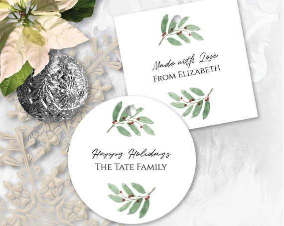Personalized Christmas Greenery Berry Gift Tag, Printable Holiday Label, Round and Square Gift Tag Template Label, Corjl PPC-19