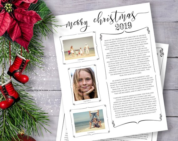 Christmas Letter Template, Year in Review, Christmas Newsletter, Family Update  Instant Download 100% Editable, Templett PPC-19