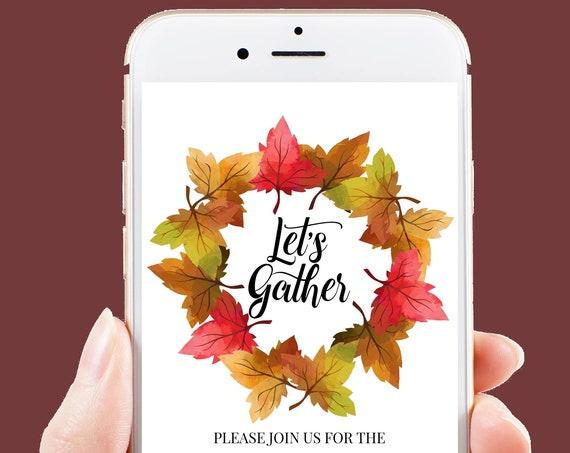 Thanksgiving Dinner Invitation, Harvest Wreath Evite, Electronic Invitation Digital, Text Invite Template HARVEST-C3e