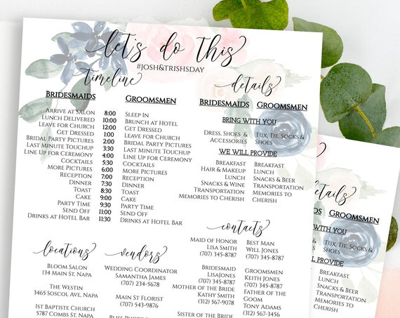 Wedding Party Timeline, Wedding Day Itinerary, Bridesmaid, Groomsman Schedule, Navy and Pink Floral, Editable Template  PPW265 OLEA