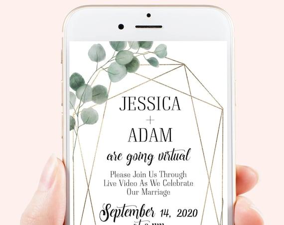 Virtual Wedding Evite, Electronic Virtual Invitation Digital, Text Invite, Greenery, Eucalyptus Editable Template VIDERE-N2 SAGE