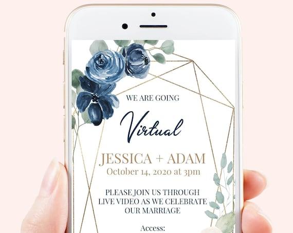 Gold Virtual Wedding Evite, Floral Electronic Virtual Invitation Digital, Text Invite, Blue & Blush Editable Template VIDERE-C3 AVRIL