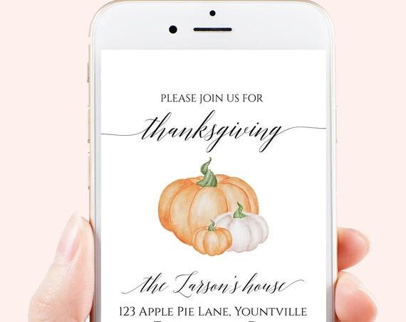 Thanksgiving Dinner Invitation, Virtual Thanksgiving Evite, Pumpkin Design, Electronic Invitation Digital, Text Invite Template HARVEST-N3e