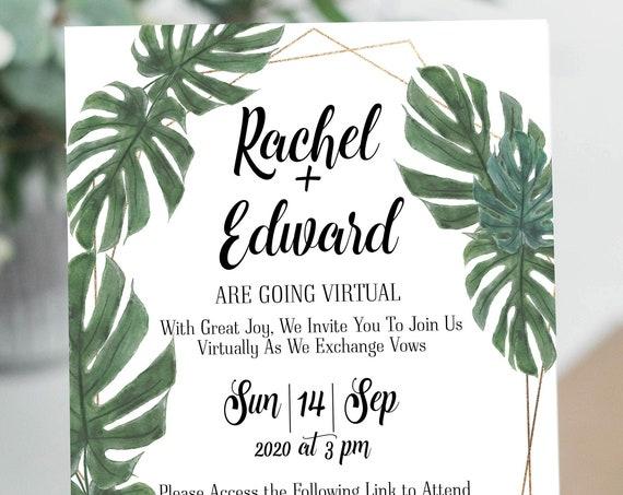 Palm Virtual Wedding Invitation, Virtual Invitation Invite, Tropical Zoom Ceremony Announcement Editable Template VIDERE-N3 ILANA
