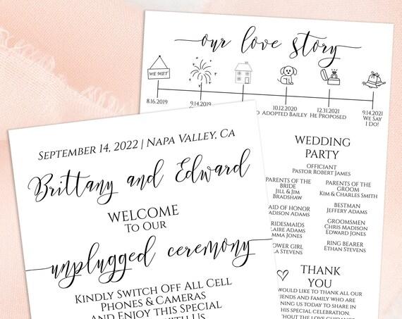 Wedding Program and Timeline, Menu, Our Love Story 100% Editable, Corjl PPW0550 Grace