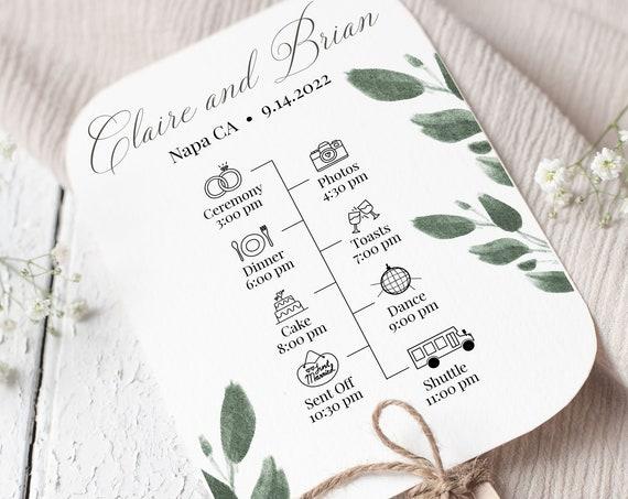 Wedding Program Fan, Wedding Day Timeline,  Greenery Editable Program Template 100% Editable 2021 JILLIAN