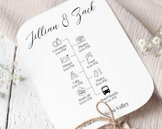 Wedding Fan Program, Timeline, Order of Events,  Elegant Calligraphy, Wedding Icons, 100% Editable Template, Corjl PPW16 MAE