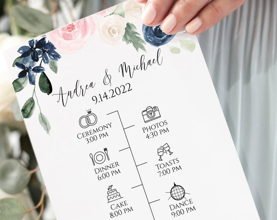 Wedding Day Icon Timeline Program, Pink and Blue Floral Schedule, Itinerary, Weddng Party 100% Editable, Templett PPW265 OLEA