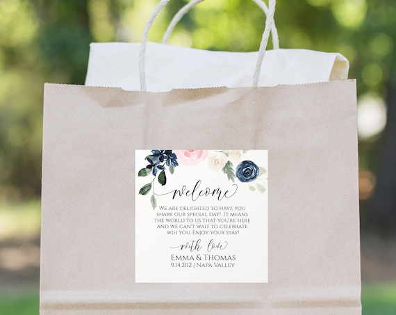 Out of Town Guest Welcome Label, Pink and Blue Floral Favor Tag,  Sticker, Label, Tag Template, Welcome Bag 100% Editable PPW265 OLEA