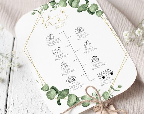 Gold Frame Greenery Fan Program Timeline, Wedding Order of Events, Ceremony Program 100% Editable PPW0445
