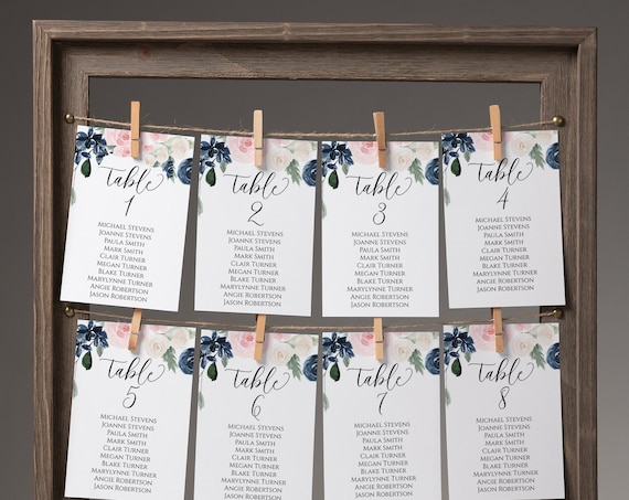 Table Seating Cards Template, Pink and Blue Floral Seating Chart, Seating Cards, Find Your Seat Display, 100% Editable PPW265 OLEA