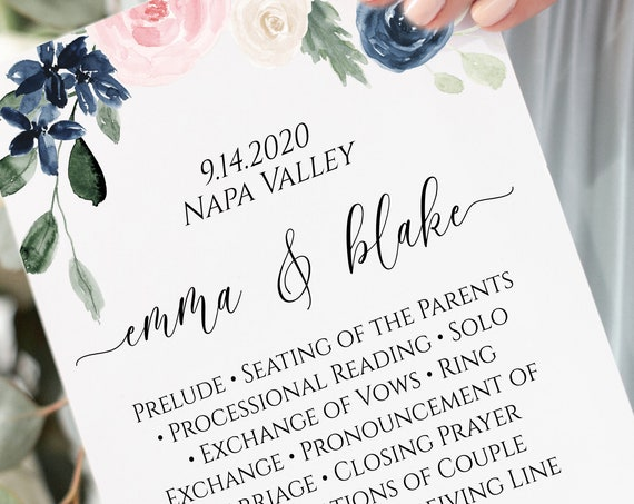 Wedding Ceremony Program Template, Pink and Blue Floral Program, Printable, Personalized, 100% Editable PPW265 OLEA
