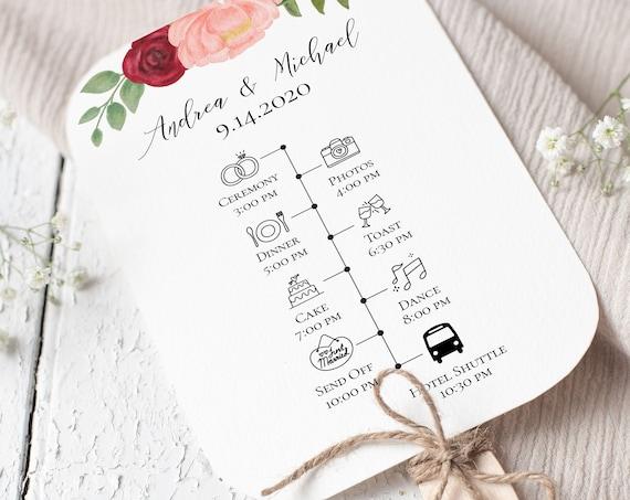 Wedding Fan Timeline and Program, Floral Design, Pink Red Flower, Instant Download 100% Editable, Templett PPW0230