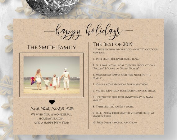 Christmas Card Template, Best of 2019 Letter, Holiday Family Photo, 100% Editable, Templett PPC-19