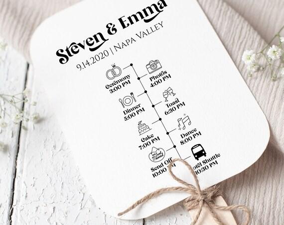 Retro Wedding Program Template, Wedding Guest Fan, Editable Wedding Day Timeline PPW74