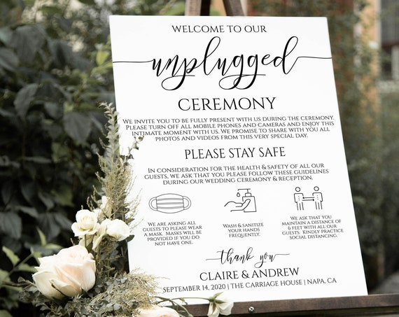 Unplugged Social Distancing Ceremony Sign, Wedding Welcome Sign, Safety Sign,  Template 100% Editable PPW0550 Grace