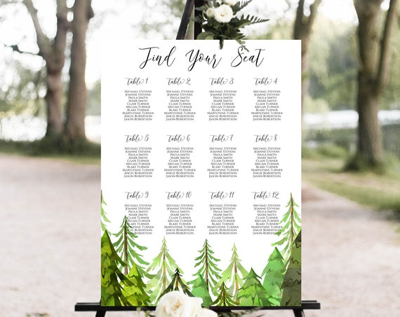 Wedding Seating Chart Display Template, Tree Forest Printable Table Seating, Wedding Seating, Editable Template, Corjl LINDEN PPW410