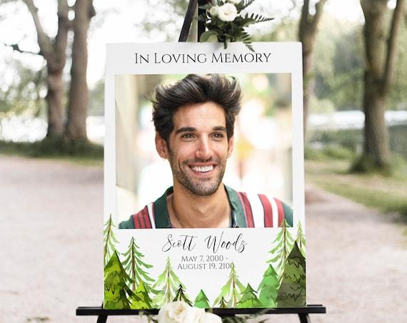 Memorial Sign, Pine Tree Forrest Celebration of Life, In Loving Memory Sign, Editable Corjl Template PPF410 LINDEN