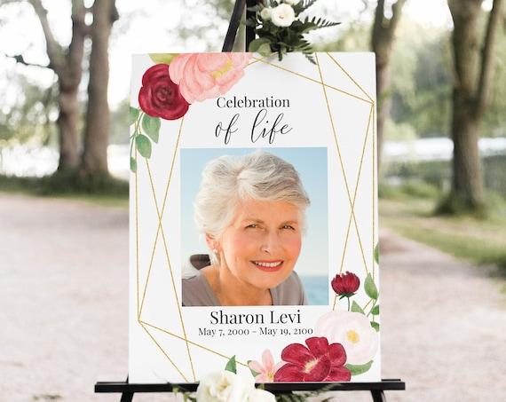 Memorial Sign, Celebration of Life, Memorial Photo Display, Editable Corjl Template CL230