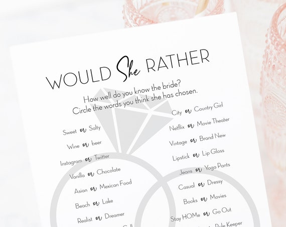Would She Rather, Bridal Shower Game, Diamond Ring Bling Design 100% Editable Text, Instant Download PPW910