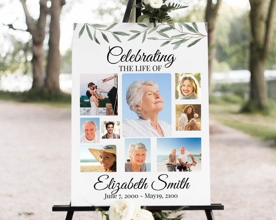 Greenery Memorial Welcome Sign, Celebration of Life, Funeral Sign, Editable Corjl Template CL800