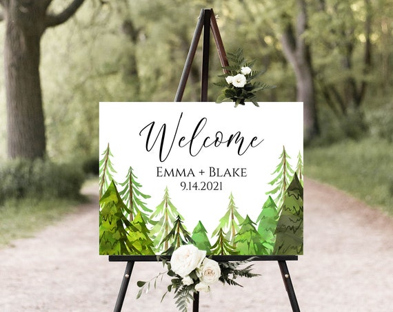 Wedding Welcome Sign Template, Pine Tree Forest Design, Easel Welcome Display Sign, Editable Template, Corjl LINDEN PPW410