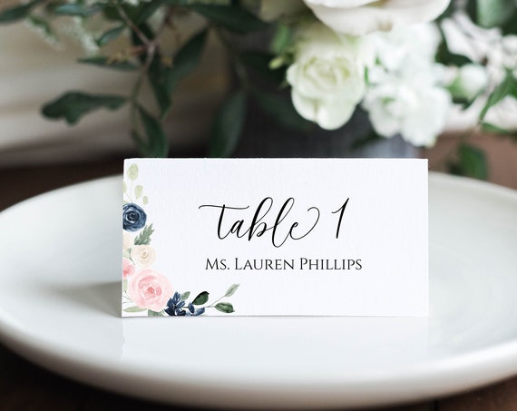 Pink and Blue Floral Place Card, Wedding Table Template,  100% Editable, Templett PPW265 OLEA