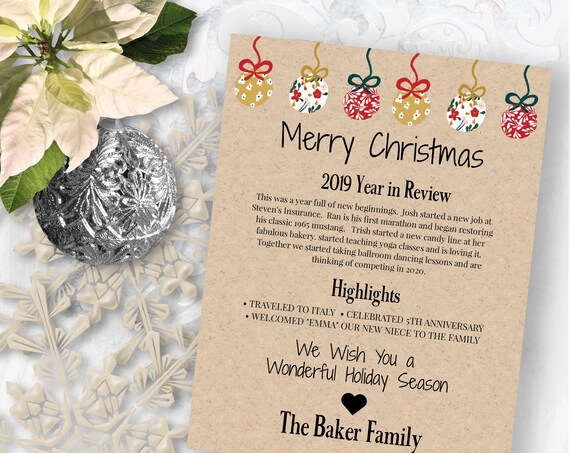 Christmas Letter Template, Year in Review, Christmas Newsletter, Red Green Gold Ornament Design, Instant Download 100% Editable PPC-19