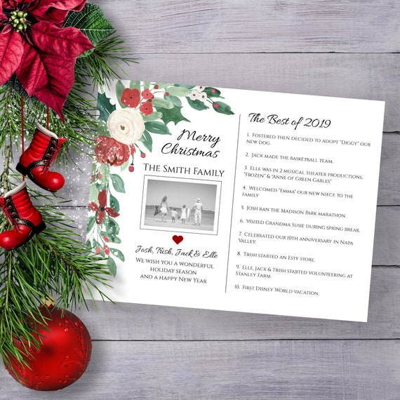 Christmas Card Template, Best of 2019 Letter, Greenery & Red Floral Holiday, Family Photo, 100% Editable, Templett PPC-19