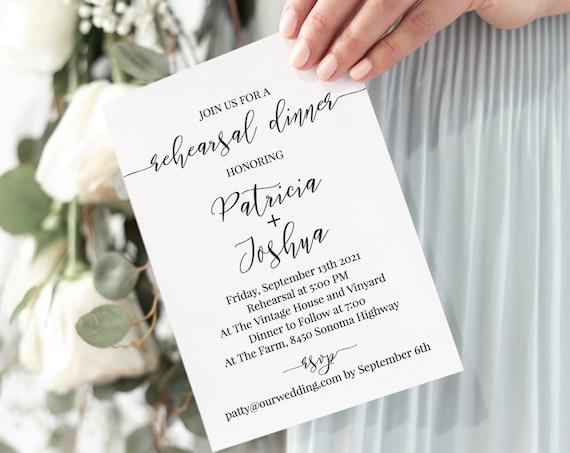 Rehearsal Dinner Invitation, Wedding Printable Invite, Heart Elegant Rehearsal Template 100% Editable, Templett PPW0550