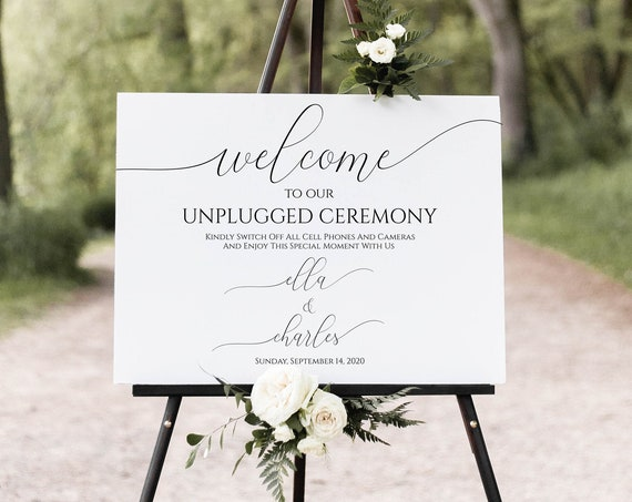 Unplugged Wedding Ceremony Welcome Sign, Printable Wedding Day Display, Easel Sign, 100% Editable, Templett  PPW0560