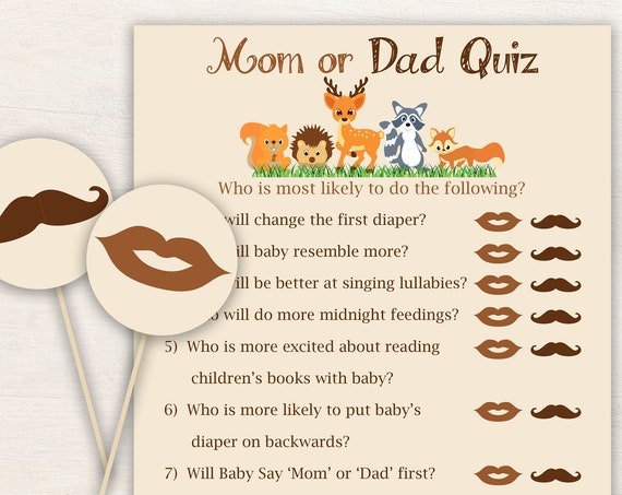 Mom or Dad Quiz ~ Woodland Animal Baby Shower Game ~ Gender Neutral Theme ~ Mustache and Lip Paddle Circles ~ Printable Game 0046