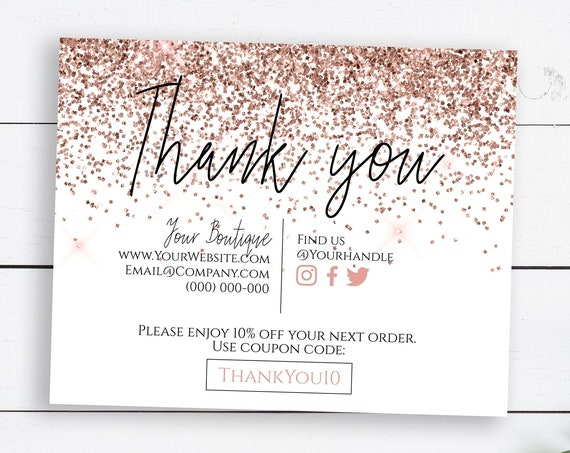 Pink Glitter Business Thank You Enclosure, Editable Thank You Card, Packaging Insert, Printable Customer Note,Editable  SM-TY PPB90